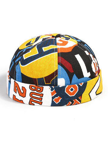Men & Women Contrast Color Graffiti Pattern Brimless Beanie Landlord Cap Skull Cap
