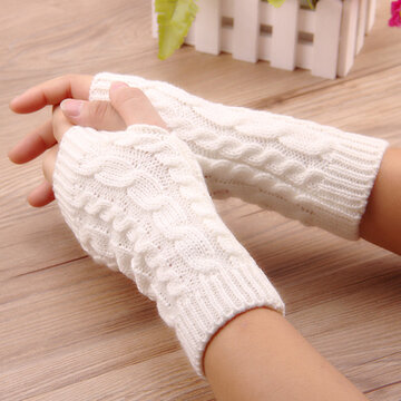 Women Winter Hand Warmer Knitted Gloves