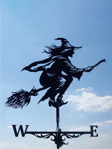 Garden Farm Iron Witch Death Horse Home Weathercock Weather Vane Wind Direction Indicator Yard Measuring Tools
