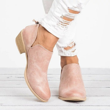 Casual Zipper Low Heel Ankle Boots