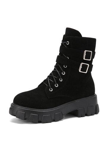 Black Suede Side-zip Platform Tooling Boots