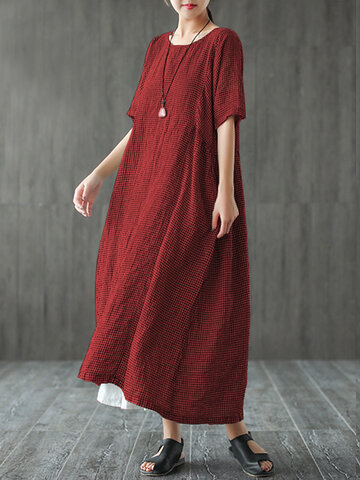 Maxi robe à carreaux