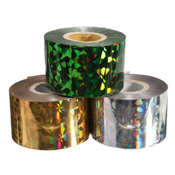 1 Roll Mix Colors Nail Transfer Foils Stickers Decals Decoration DIY Tools, Gold silver green