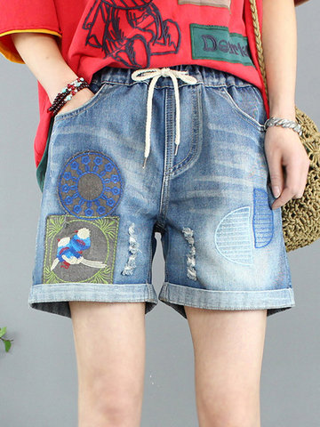 Embroidery Short Jeans
