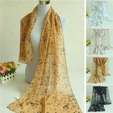 Women Musical Note Printed Chiffon Long Scarf Shawl Wrap, White