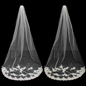 2.7M दुल्हन सफेद आइवरी सुरुचिपूर्ण कैथेड्रल लंबाई फीता किनारे के साथ शादी दुल्हन घूंघट