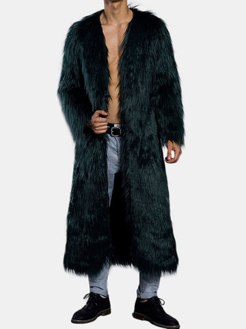 Faux Fur Calf-Length Trench Coat