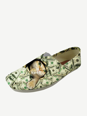 Cat Print  Canvas Loafers Shoes