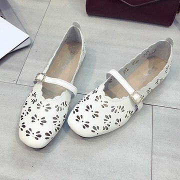 Square Toe Hollow Rhinestone Loafers, White white camel