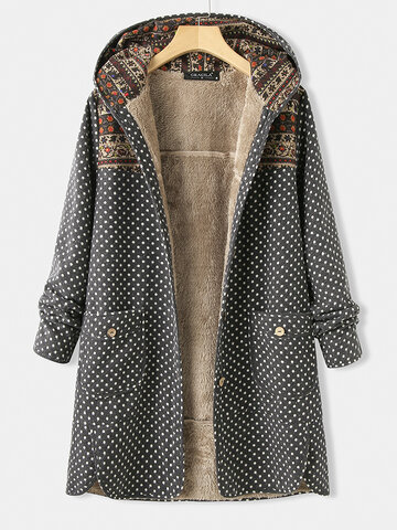 Polka Dot Long Sleeve Hooded Patchwork Pocket Coat For Women