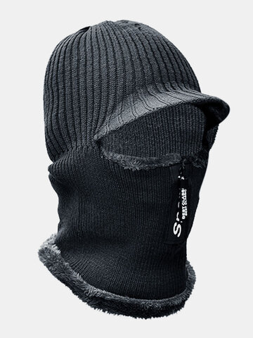 Men Wool Velvet Thick Neck Protection Windproof Zipper Knitted Hat