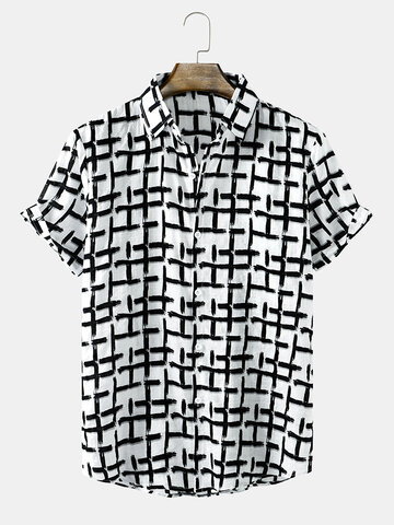 Brush Grid Printing Shirts