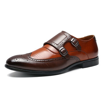 Men Leather Splicing Brogue Formal Shoes