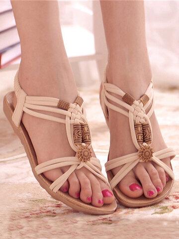 Flower Bead Bohemia Flat Sandals