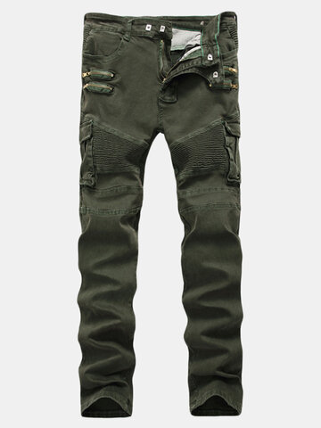 Mens  Pleated Stretch Multi-pocket Cargo Pants