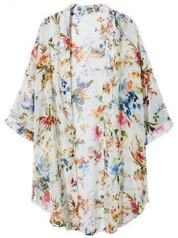 Multicolor Floral Print Half Sleeve Chiffon Women Cardigans