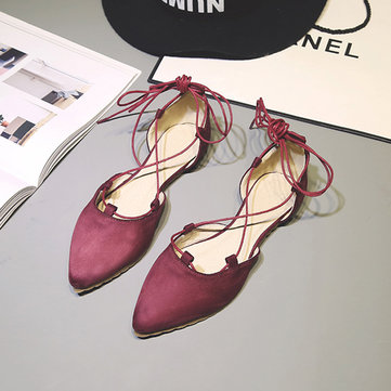Suede Pointed Toe Lace Up Ballet Shoes