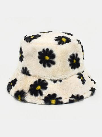 Women & Men Lamb Wool Soft Casual Daisy Flower Pattern Bucket Hat