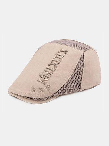Embroidery Casual Berathable Mesh Hat Short Brim Visor Go Out Forward Beret Hat Flat Hat