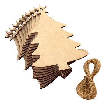 10 قطع فارغة شجرة عيد الميلاد الخشب رقاقة