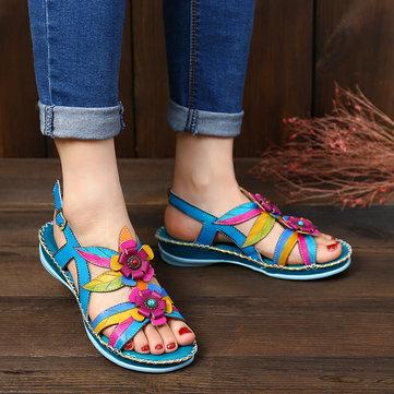 Sandálias de couro pintadas à mão