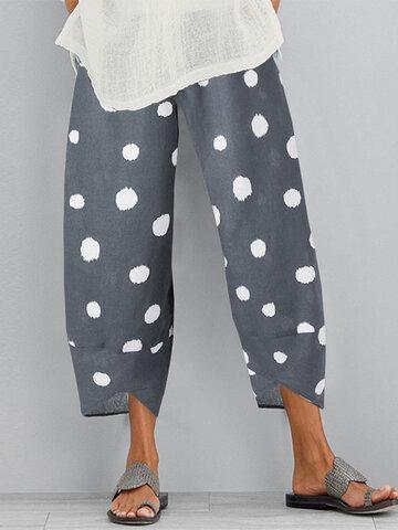 Polka Dot Elastic Waist Casual Pants