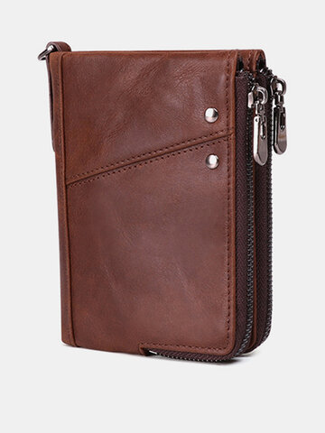 RFID Men Genuine Leather 10 Card Slot Wallet Coin Purse