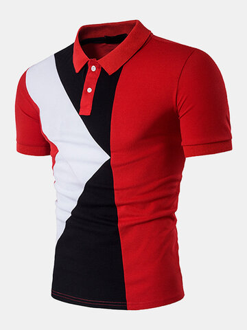 Stylish Hit Color Slim Fit Golf Shirt