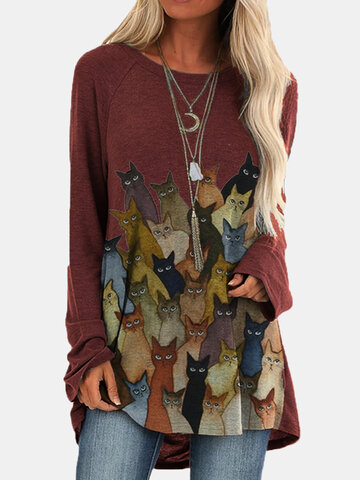 Cartoon Cat Print O-neck Long Blouse