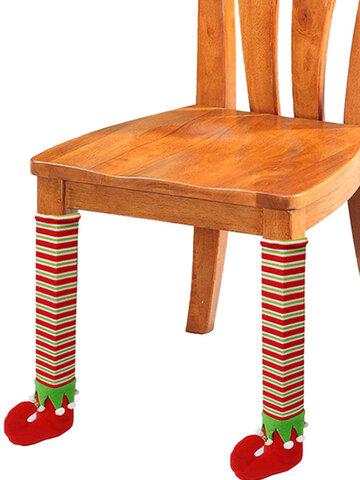 1/4PCS Elf Santa Chair Table Socks Leg Cover Christmas Halloween Novelty Decor