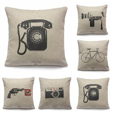 Vintage Retro Cushion Cover Cotton Linen Pillow Case, White