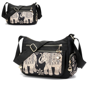 Women Multi-pocket Print Crossbody Bag Waterproof Bag