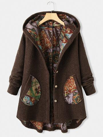 Cappotto asimmetrico patchwork a maniche lunghe con cappuccio stampato vintage per donna