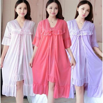 Season Short-sleeved Pajamas Two-piece Ladies Sexy Ice Silk Nightdress Lace To Increase Fat Mm Nightdress, Yy watermelon red two-piece pink two-piece set in yy yy blue two-piece set yy light purple two-piece set yy light powder two-piece yy shrimp color t