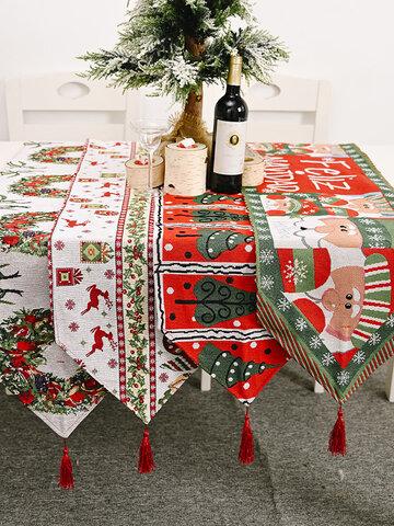 Christmas Elk Snowman Table Runner Merry Christmas Decor For Home Ornaments