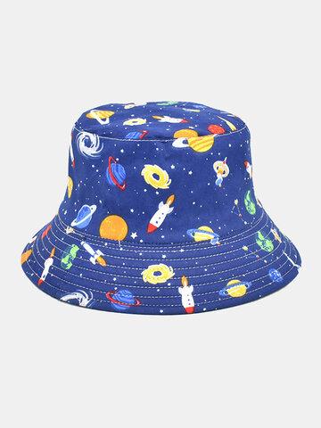 Unisex Overlay Cartoon Print Bucket Hat