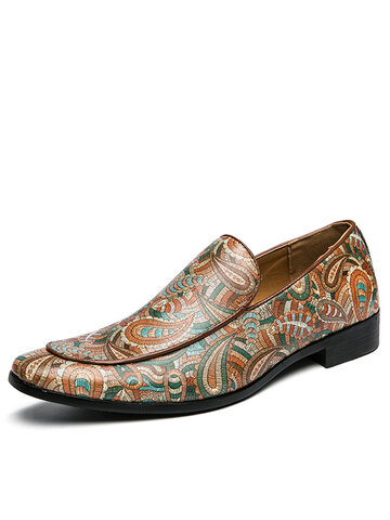Men Retro Printing Dress Loafers Shoes