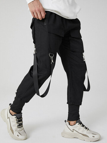 Solid Cargo Pants With Ribbon