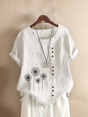Flower Print Button T-shirt