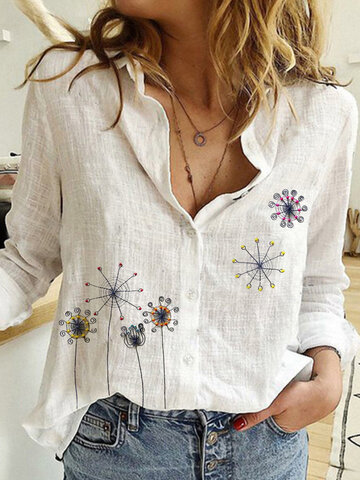 Calico Embroidery Button Blouse