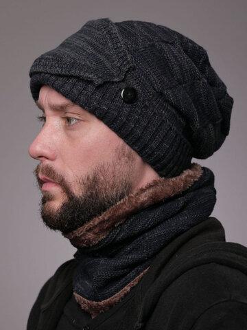 Uomo 2PCS Plus Berretto lavorato a maglia con sciarpa invernale in velluto spesso