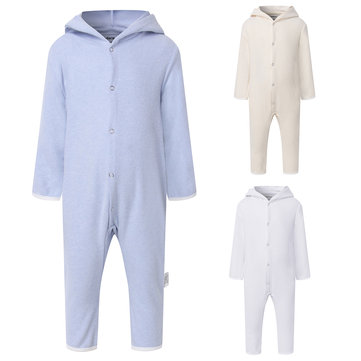 Hooded Baby Fleece Rompers For 0-24M