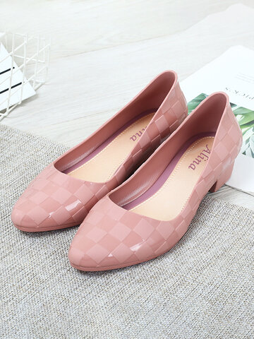 Jelly Gingham Block Heels Loafers