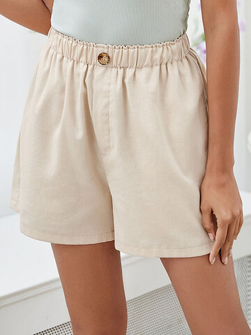 Solid Button Up Elastic Waist Shorts