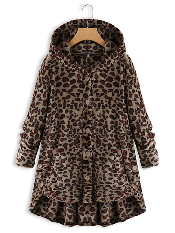 Fleece Leopard Asymmetrical Hem Coat