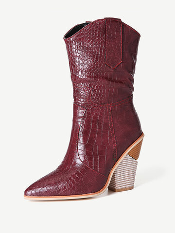 Pointed Toe High Heel Riding Boots