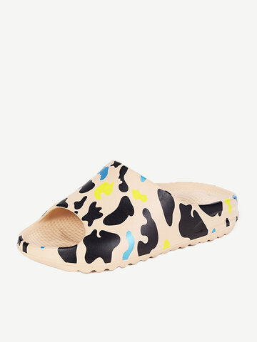SOCOFY Cow Printing Outdoor Home Slippers Soft Casual Sandals