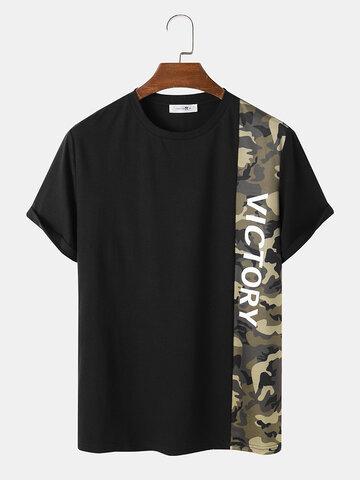 Camo Letter Panel Stitching T-Shirts