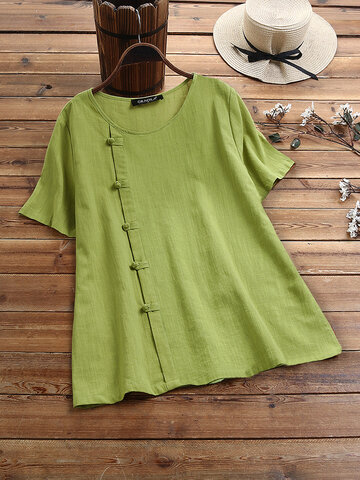 Solid Color Frog Button T-shirt