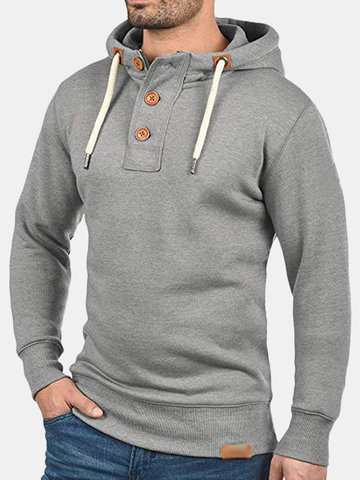 Mens Casual Drawstring Solid Color Slim Sweatshirt